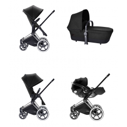TRIO PRIAM HAPPY BLACK LUXE SEAT CHASIS CROMADO