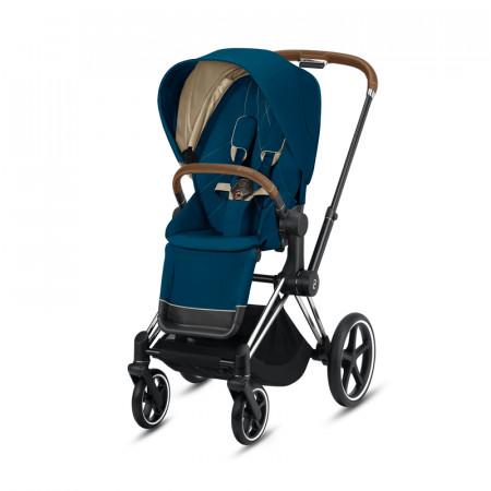 silla paseo priam mountain blue cybex chasis cromado detalles en marron