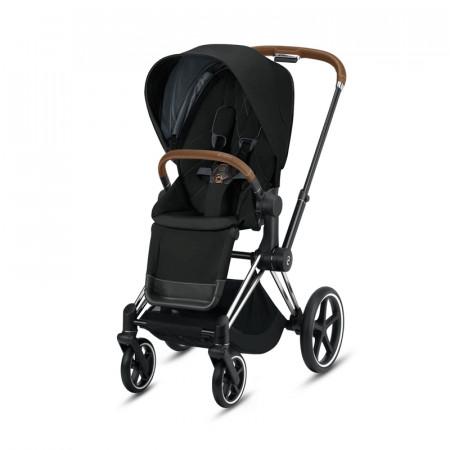 silla paseo priam deep black cybex chasis cromado detalles en marron