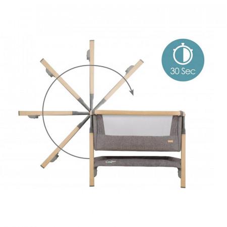 Cuna CoZee Bedside Crib de Tutti Bambini con el innovador sistema de plegado en 30 segundos