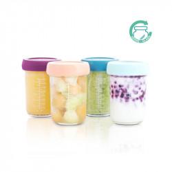 Recipientes de cristal Babybols de Babymoov. Set de 4 recipientes de 240 ml cada uno.