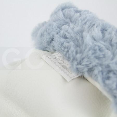 Uzturre Manoplas polipiel exterior beige interior azul pelo rizado