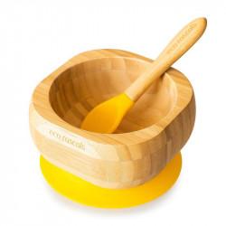 Bol de bambú con ventosa de Eco Rascals en el color Amarillo