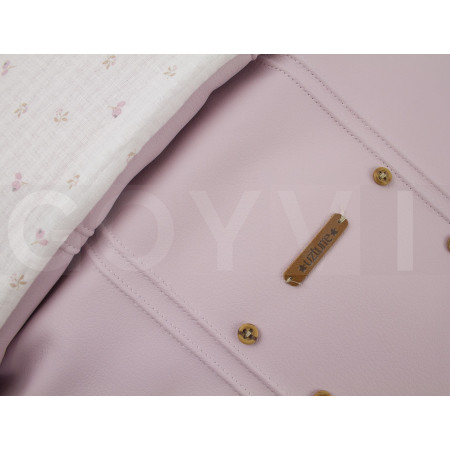 Saco de 2 usos para capazo colección Paola de Uzturre en color rosa empolvado. Detalle tejidos.