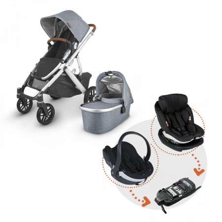 Uppababy Vista V2 en color Gregory con sistema Modular de BeSafe en color Black
