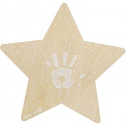 luz de pared con forma de estrella con impresion de baby art