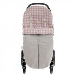 saco de verano para silla de paseo con cremallera Mateo de uzturre en el color rosa empolvado