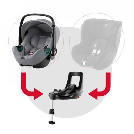 silla de coche baby-safe isense con base flex isense de britax romer en el color frost grey