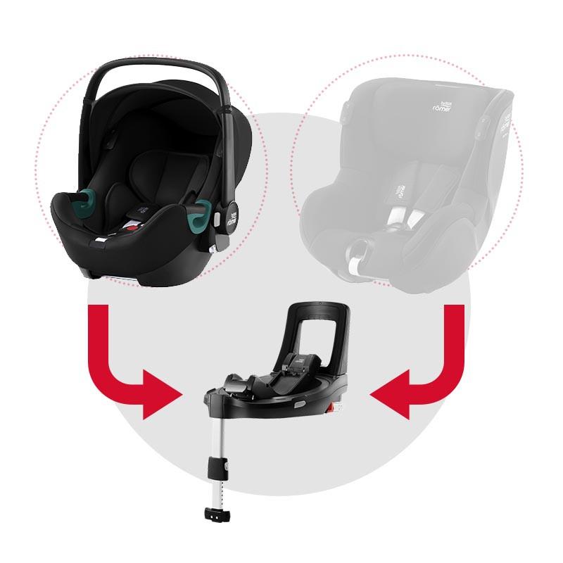 silla de coche baby-safe isense con base flex isense de britax romer en el color space black