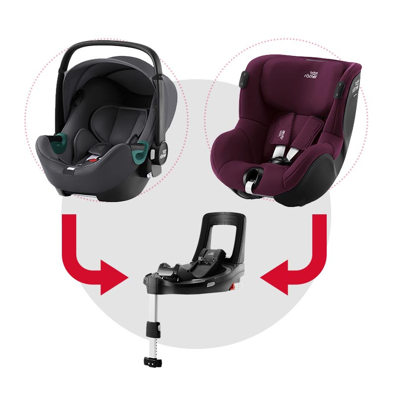 sistema modular isense con baby safe isense (midnight grey) y dualfix isense (burgundy red)