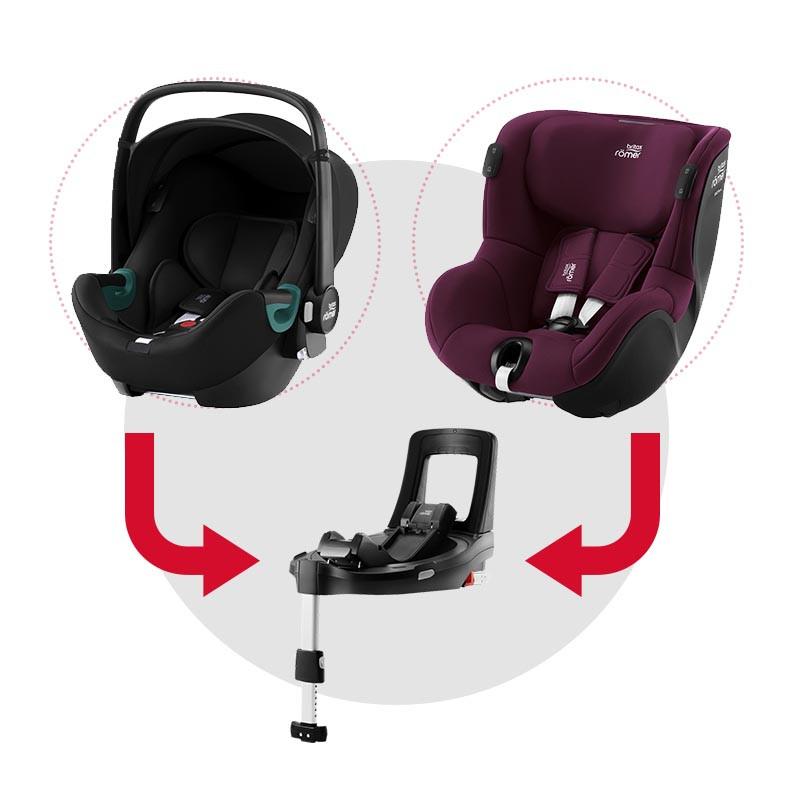 sistema modular isense con baby safe isense (space black) y dualfix isense (burgundy red)