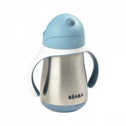beaba taza de acero inoxidable con pajita en el color gris azulado