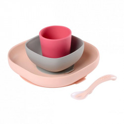 set vajilla de silicona de beaba en color rosa