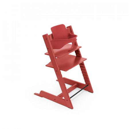 trona tripp trapp de stokke con baby set en el color warm red