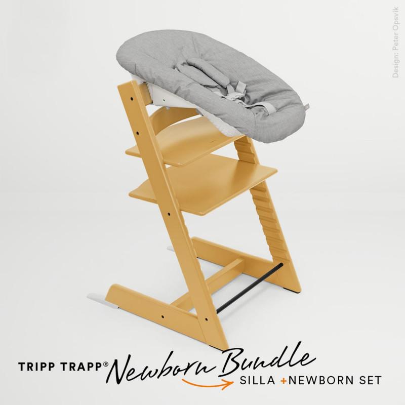 pack de trona tripp trapp de stokke con newborn set en color amarillo girasol