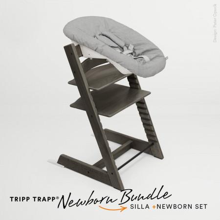 pack de trona tripp trapp de stokke con newborn set en color hazy grey