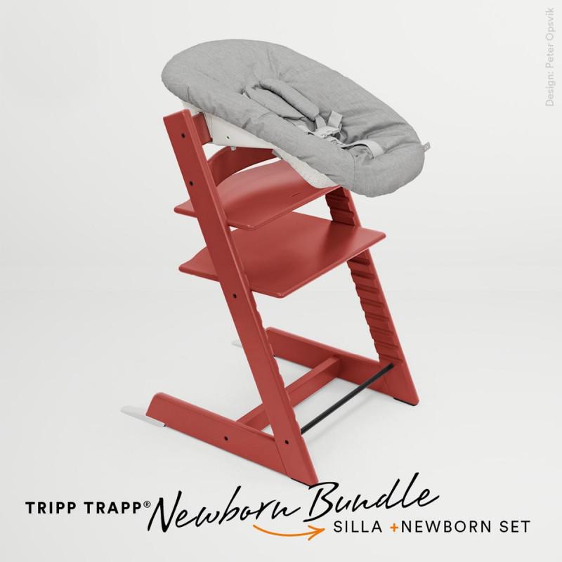 pack de trona tripp trapp de stokke con newborn set en color rojo cálido