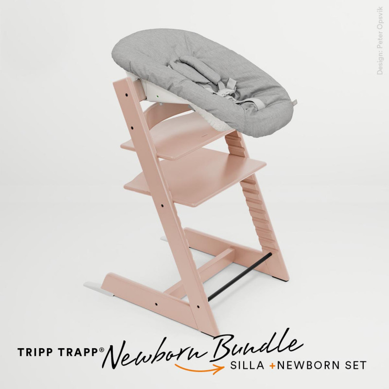 pack de trona tripp trapp de stokke con newborn set en color serene pink