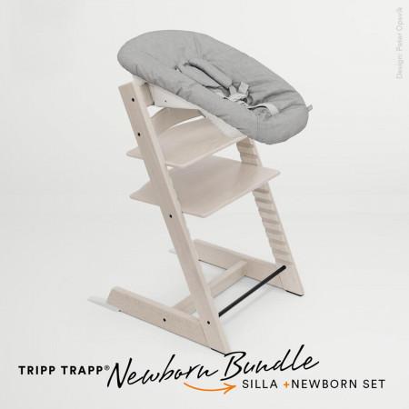 pack de trona tripp trapp de stokke con newborn set en color whitewash