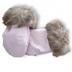 manoplas para carrito de bebé de polipiel de color rosa empolvado y mouton