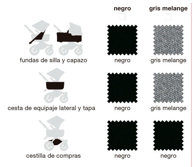 Escoge las fundas que te gustan entre un elegante negro y el inimitable gris melange bugaboo