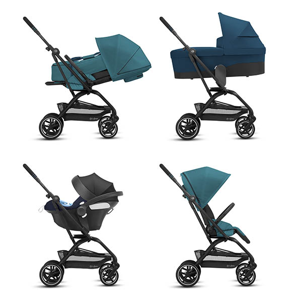 En la imagen se ven las ruedas todotereno que lleva, que se puede plegar con una sola mano la silla de paseo, y un respaldo reclinable casi a la horizantal