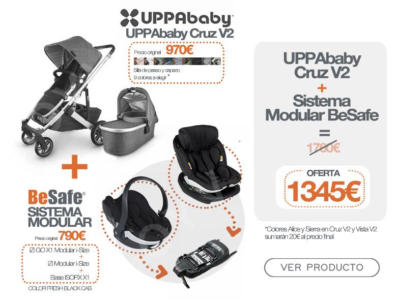 Uppababy Cruz V2 más sistema modular Besafe