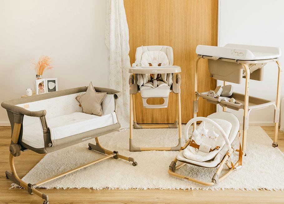 colección especial nature edition de jane. Cuna babyside, trona Mila, bañera Flip y hamaca fold.