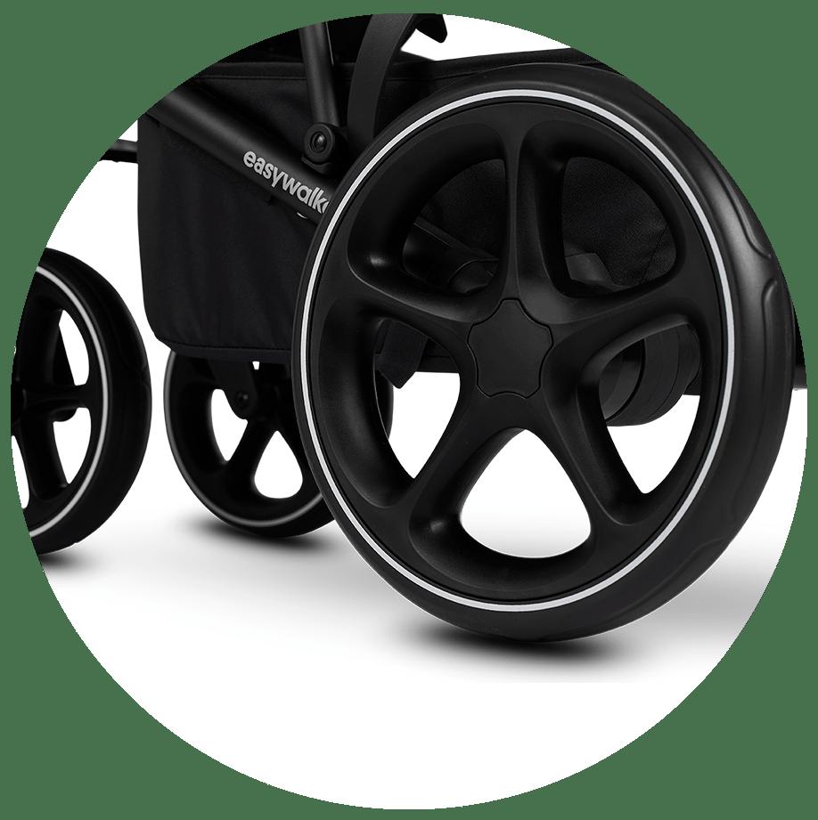 ruedas grandes y con suspensión para una mejor maniobrabilidad