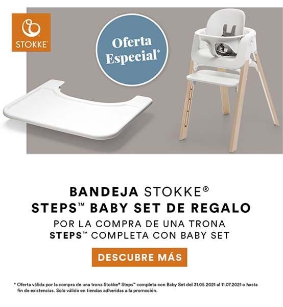 promoción regalo bandeja con la compra de trona steps con baby set de stokke